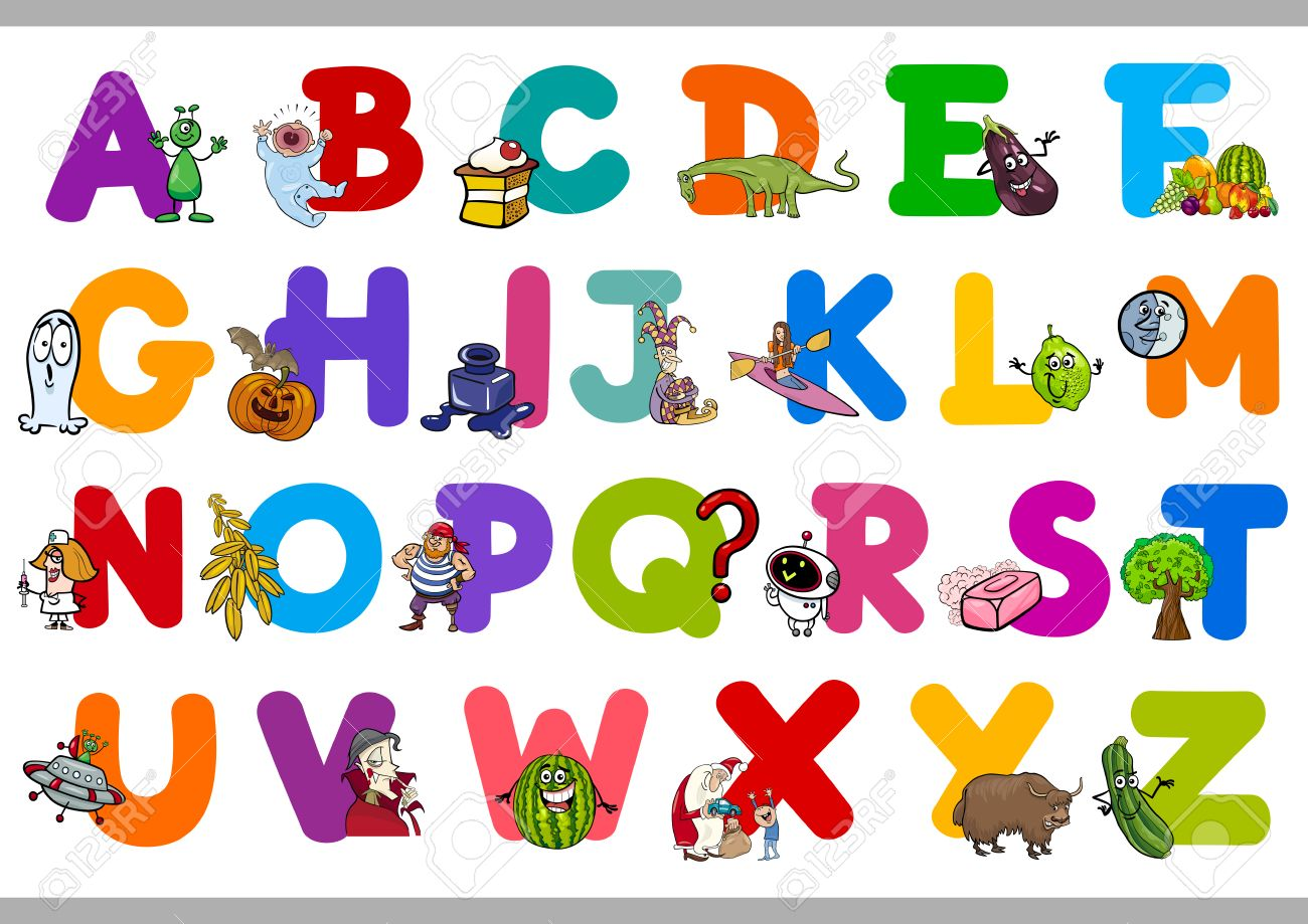 Cartoon Illustration of Capital Letters Alphabet Set for Kindergarten..