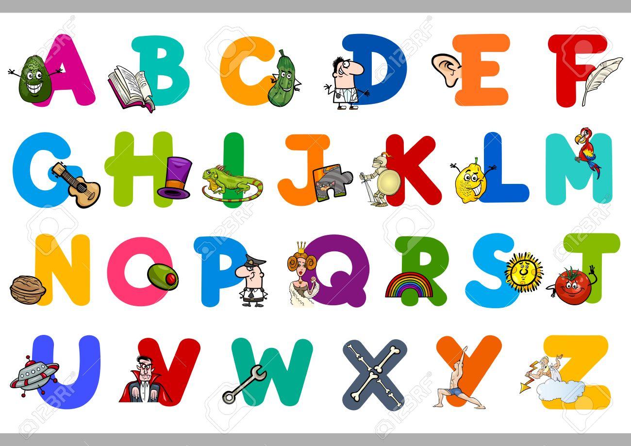 Preschool letters - Cartoon Illustration Of Capital Letters Alphabet Educational Set For Preschool Children Stock Vector 48824410