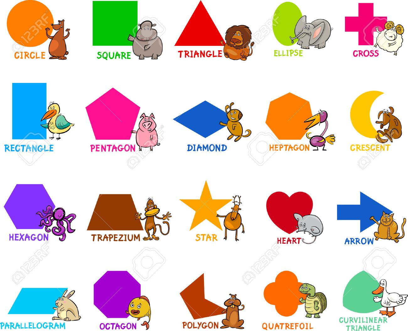 bdd5c60b110 Cartoon Illustration of Educational Basic Geometric Shapes for Preschool or Primary  School Children with Animal Characters