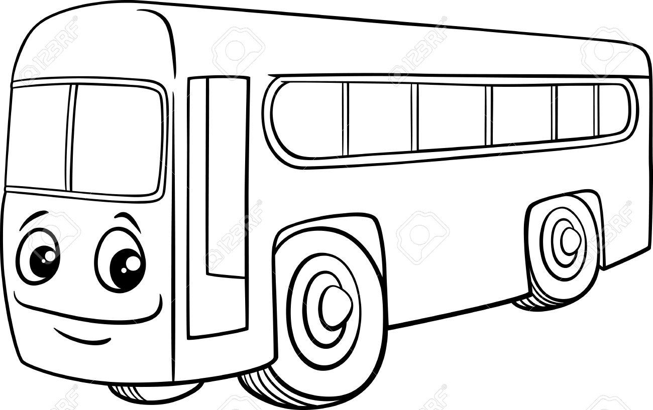 塗り絵のスクールバス車両文字の白黒漫画イラストのイラスト素材ベクタ