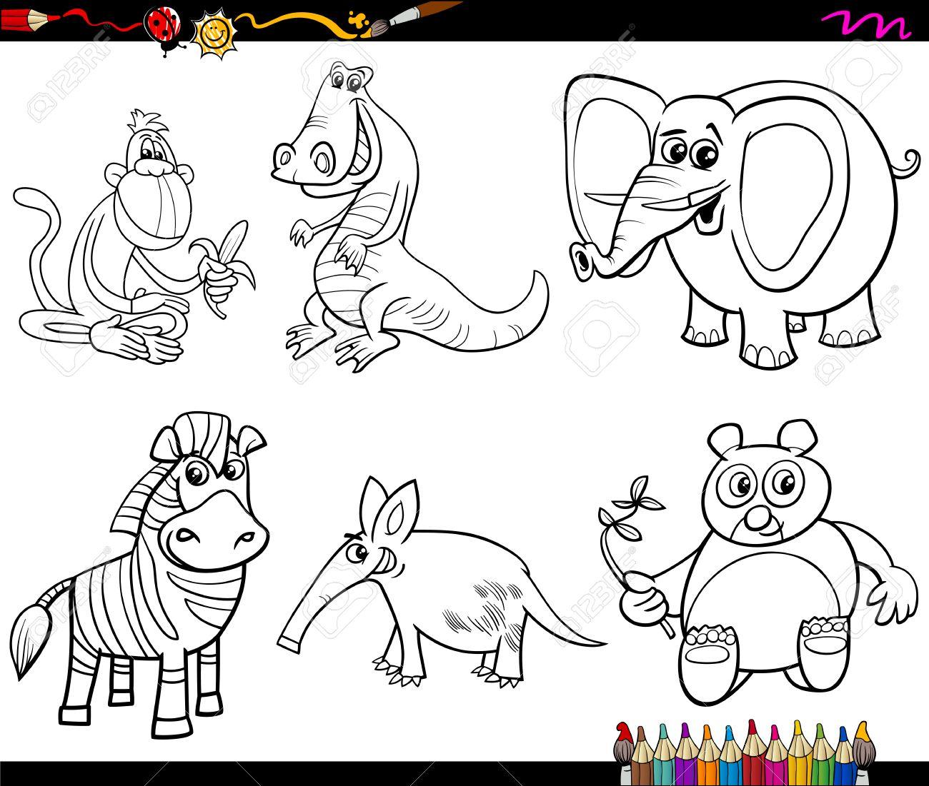 Dibujos Animados De Blanco Y Negro Ilustración De Personajes Animales Salvajes Conjunto De Libro Para Colorear