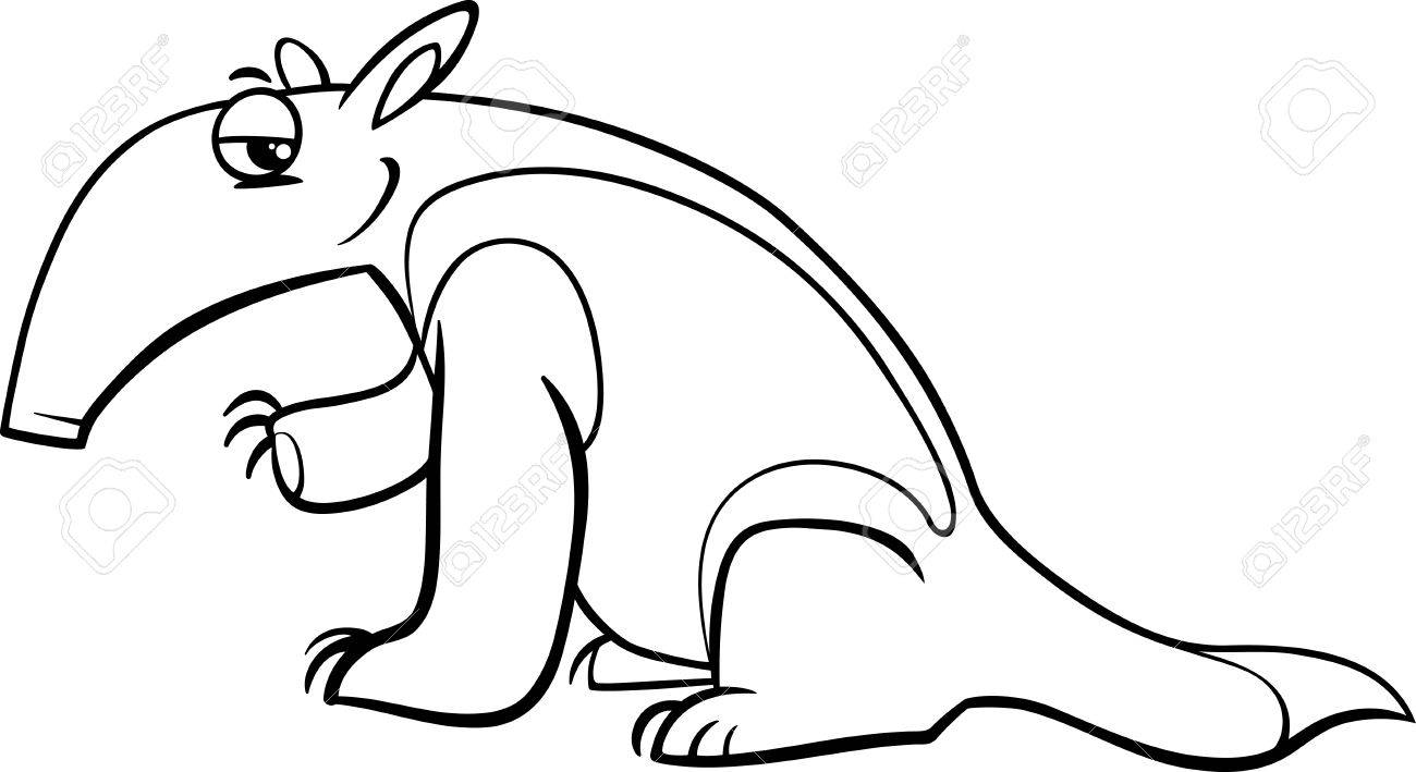 Black And White Cartoon Illustration Of Tamandua Anteater Animal