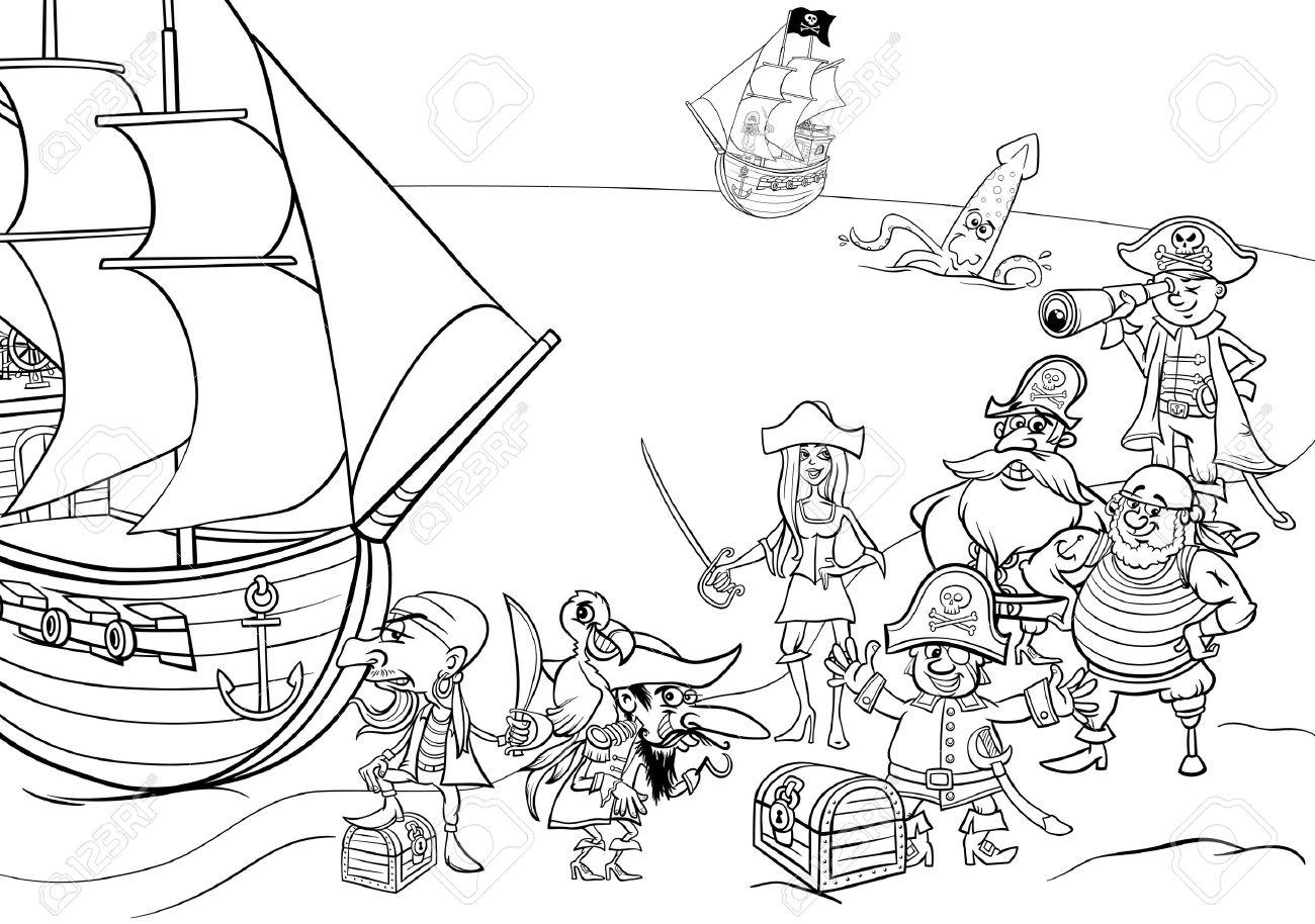 Blanco Y Negro Ilustraciones De Dibujos Animados De Fantasía Pirata ...