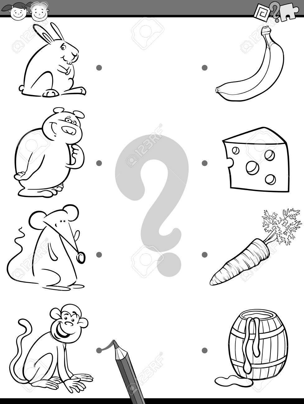 ブラックホワイト漫画イラストの教育画像マッチング作業動物と幼稚園児