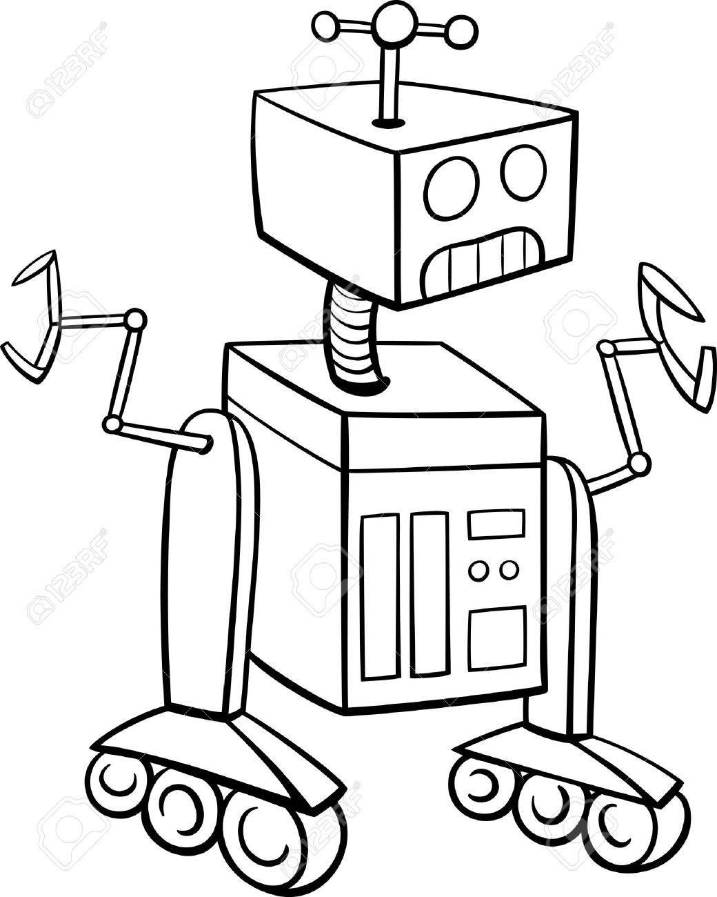 Dibujos Animados De Blanco Y Negro Ilustración De Robot De La Ciencia Ficción De Personajes Para Colorear Libro