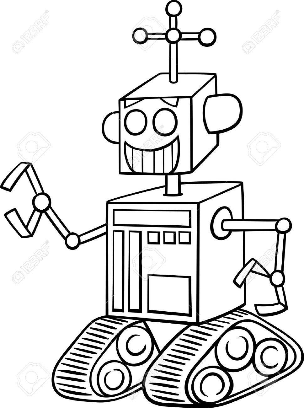 Ilustración De Dibujos Animados De Blanco Y Negro Divertido Del Robot De La Fantasía De Caracteres Para Colorear Libro