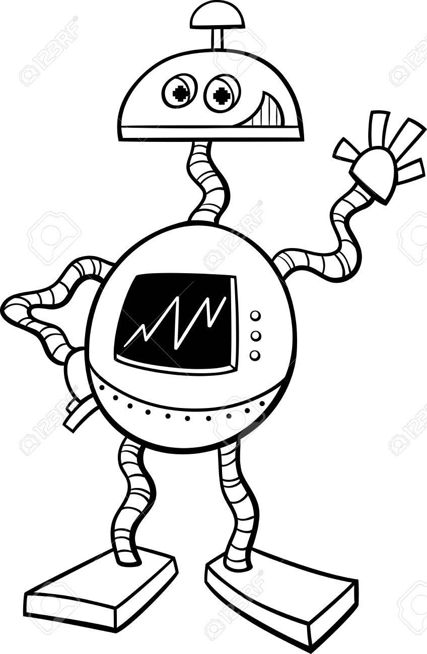 Dibujos Animados De Blanco Y Negro Ilustración De Robot O Droid Ciencia Ficción Personaje De Libro Para Colorear