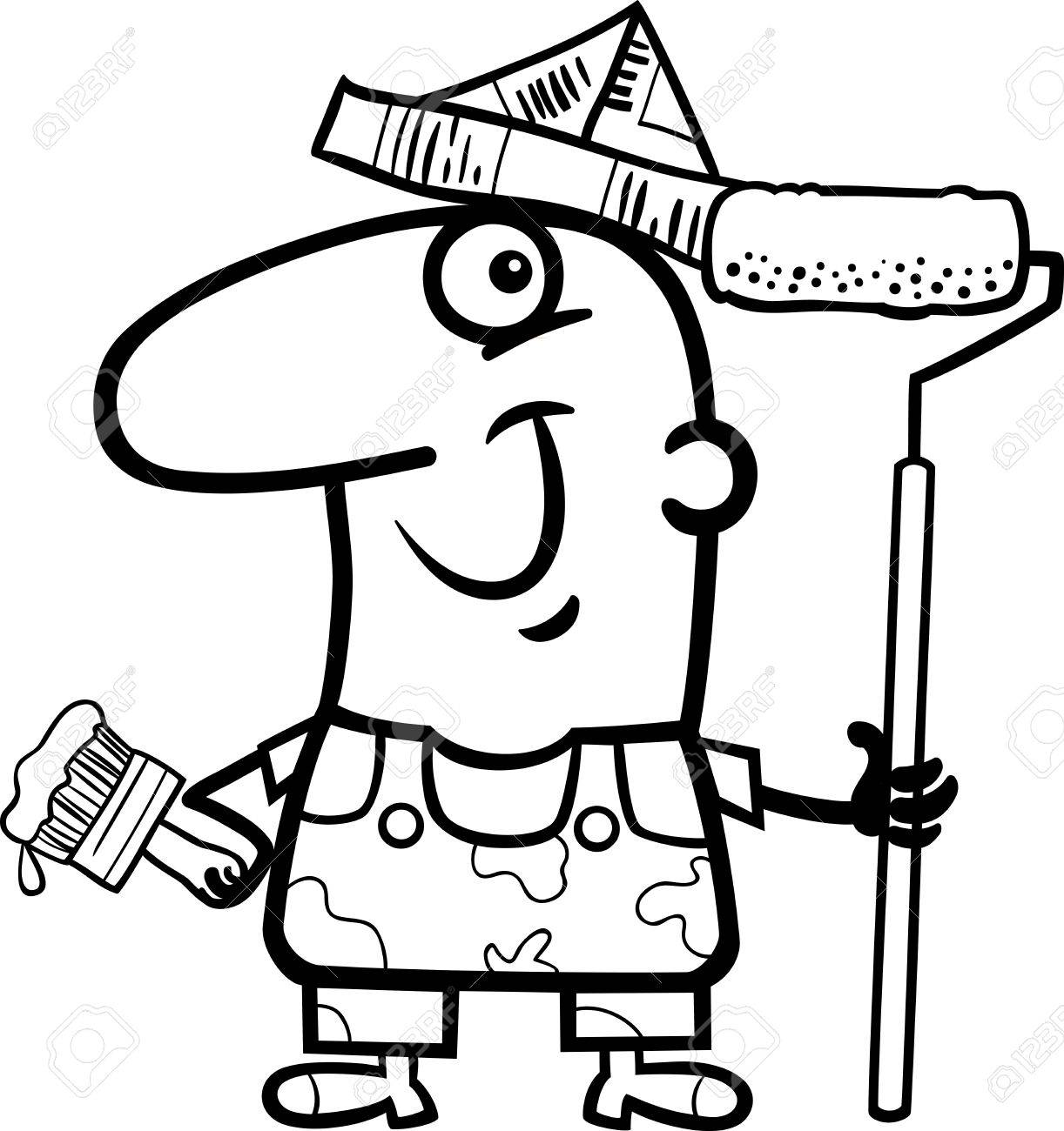 black and white cartoon illustration of funny house painter worker Black and White Cartoon Jam black and white cartoon illustration of funny house painter worker for coloring book stock vector