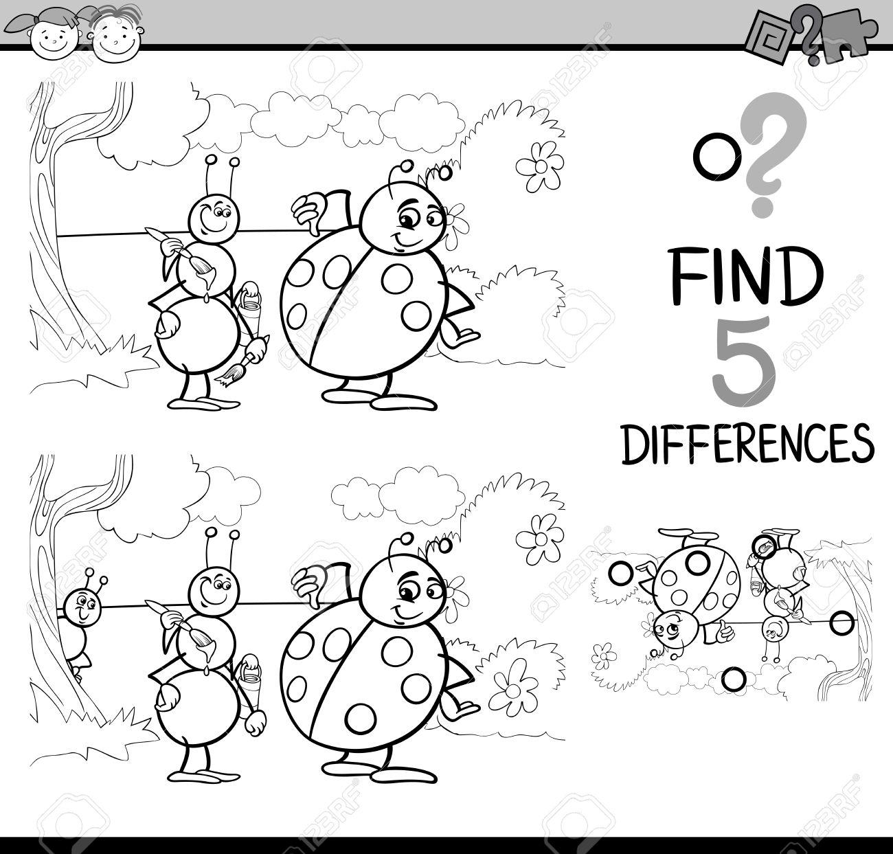 黒と白の漫画イラスト塗り絵の Ant とてんとう虫の昆虫文字と幼児の違い