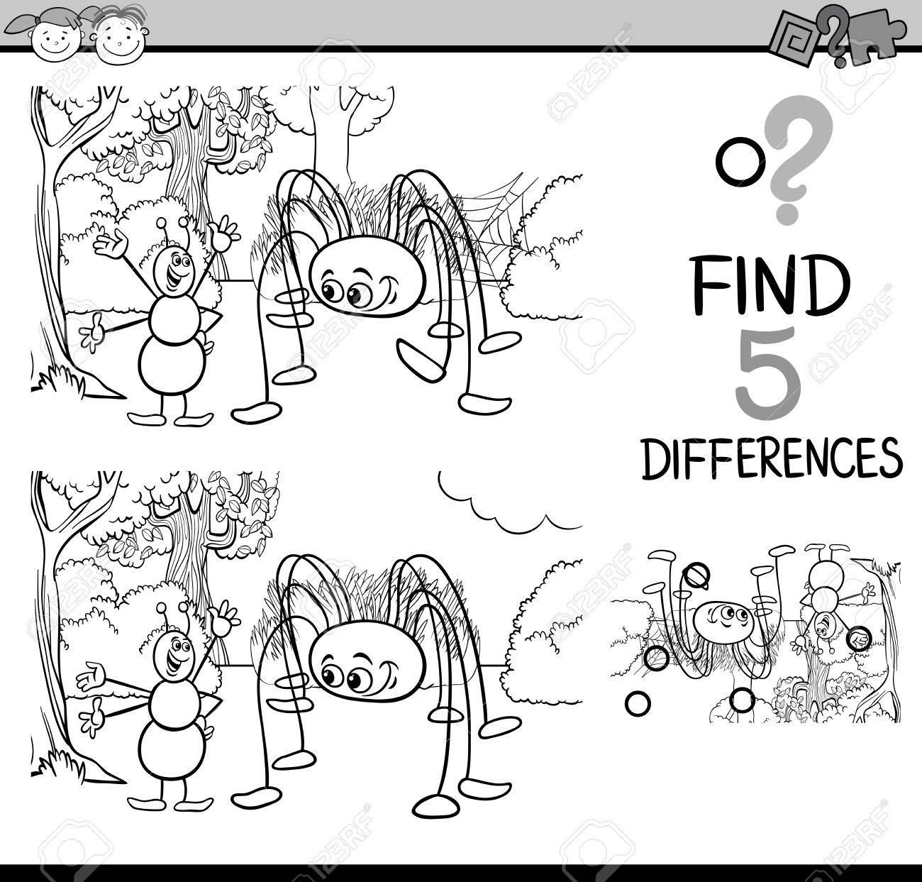 Dibujos Animados De Blanco Y Negro Ilustración De Encontrar Diferencias Para La Educación De Tareas Para Niños En Edad Preescolar Con Caracteres