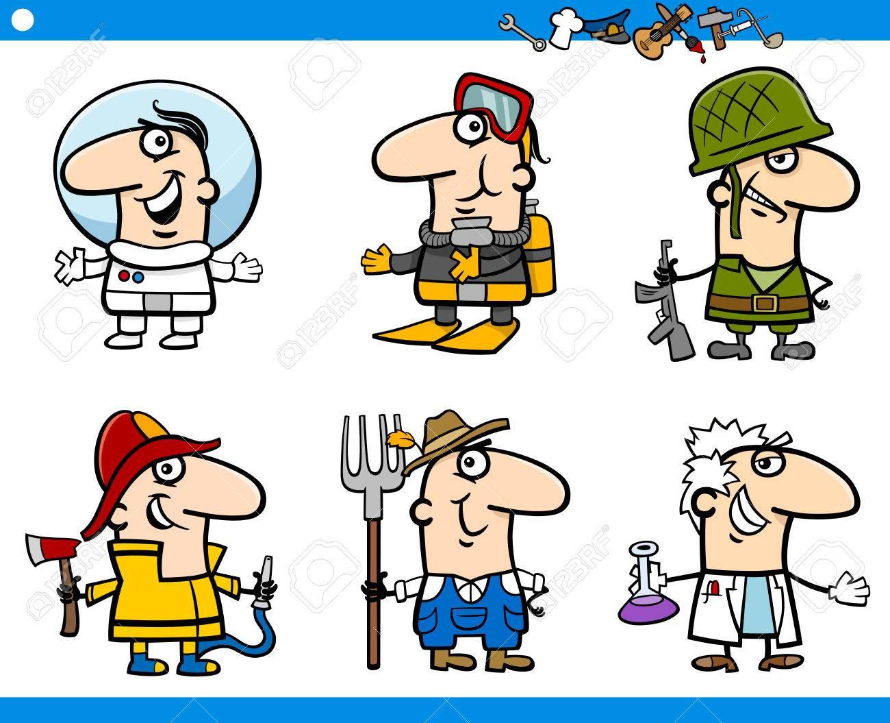 Ilustración De Dibujos Animados De Profesionales De Ocupaciones De Personas Caracteres Que Haya Definido