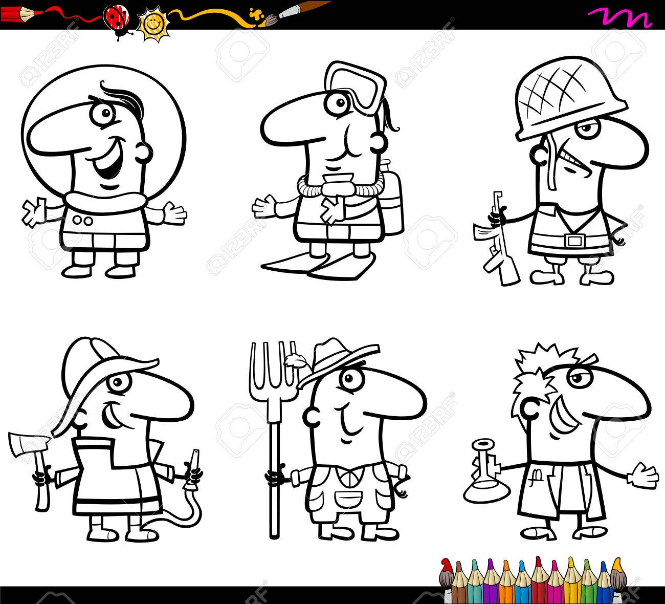 Coloring Book Cartoon Illustration Of Professional People ...