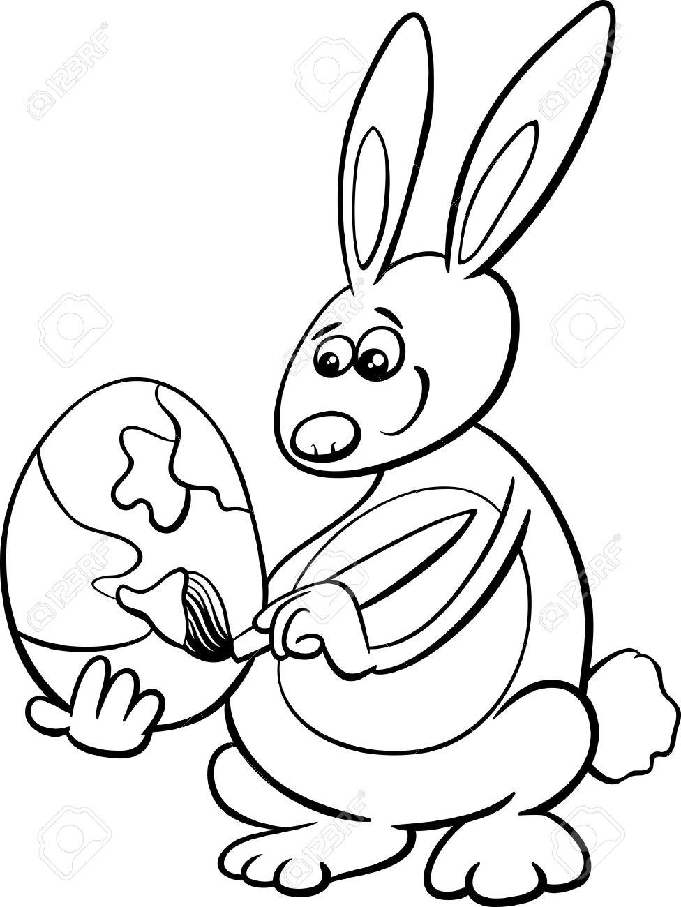Ilustración De Dibujos Animados En Blanco Y Negro De Conejo De ...