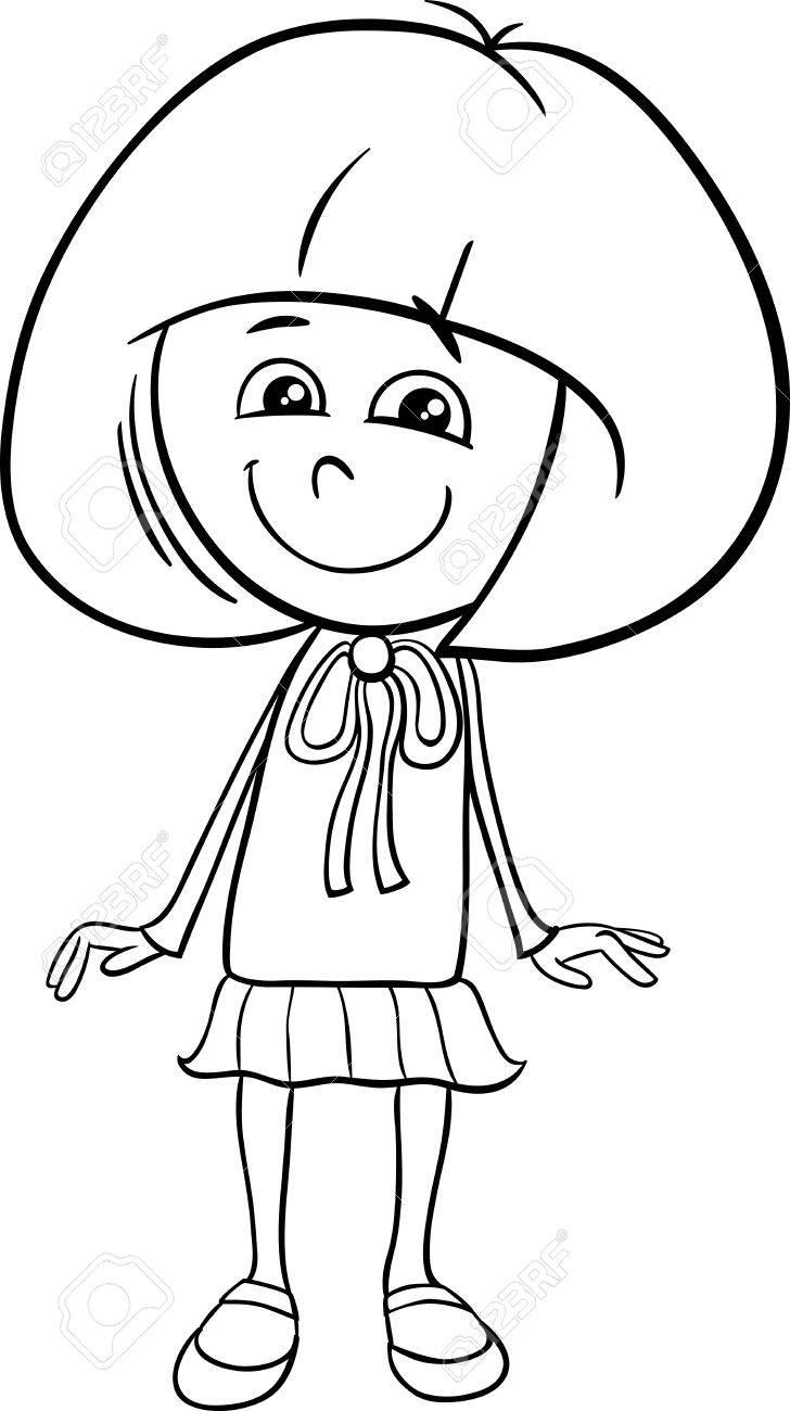 Dibujos Animados De Blanco Y Negro Ilustración De Preescolar O Escuela Girl De Edad Primaria Para Colorear Libro