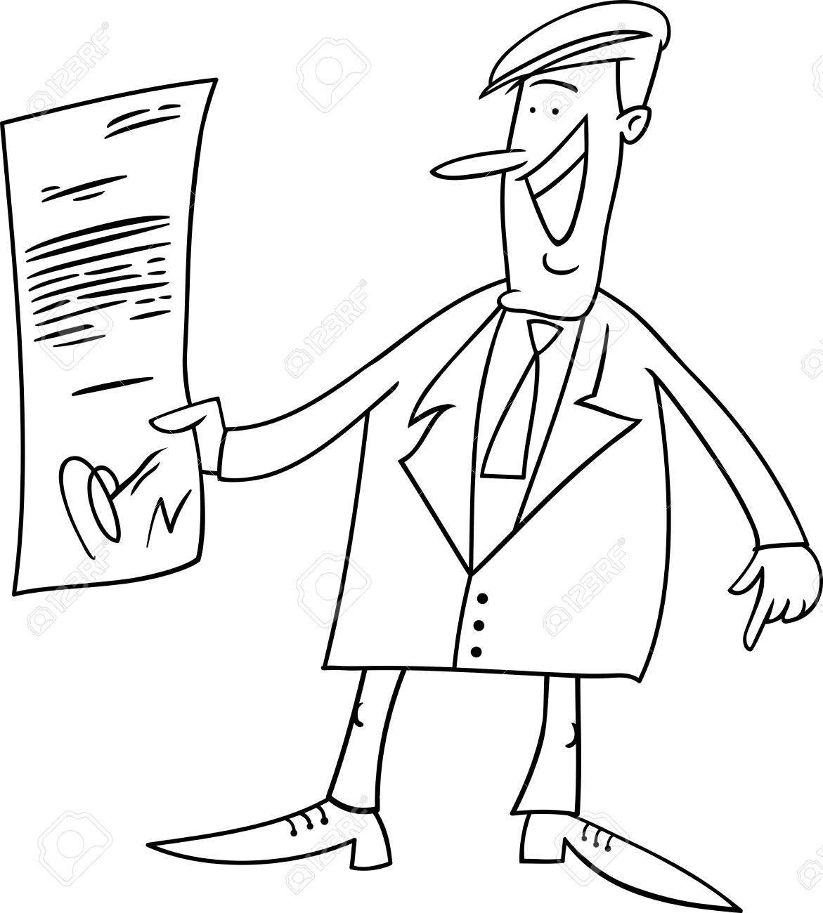 Dibujos Animados De Blanco Y Negro Ilustración De Hombre De Negocios Feliz Con El Acuerdo O Contrato Para Colorear Libro