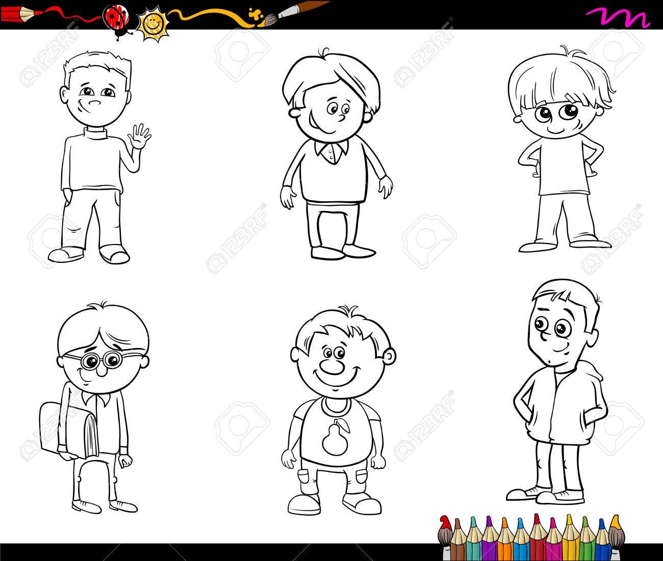Dibujos Animados De Blanco Y Negro Ilustración De La Escuela O Pre Escolar Niños Personaje Infantil Set Para Colorear Libro
