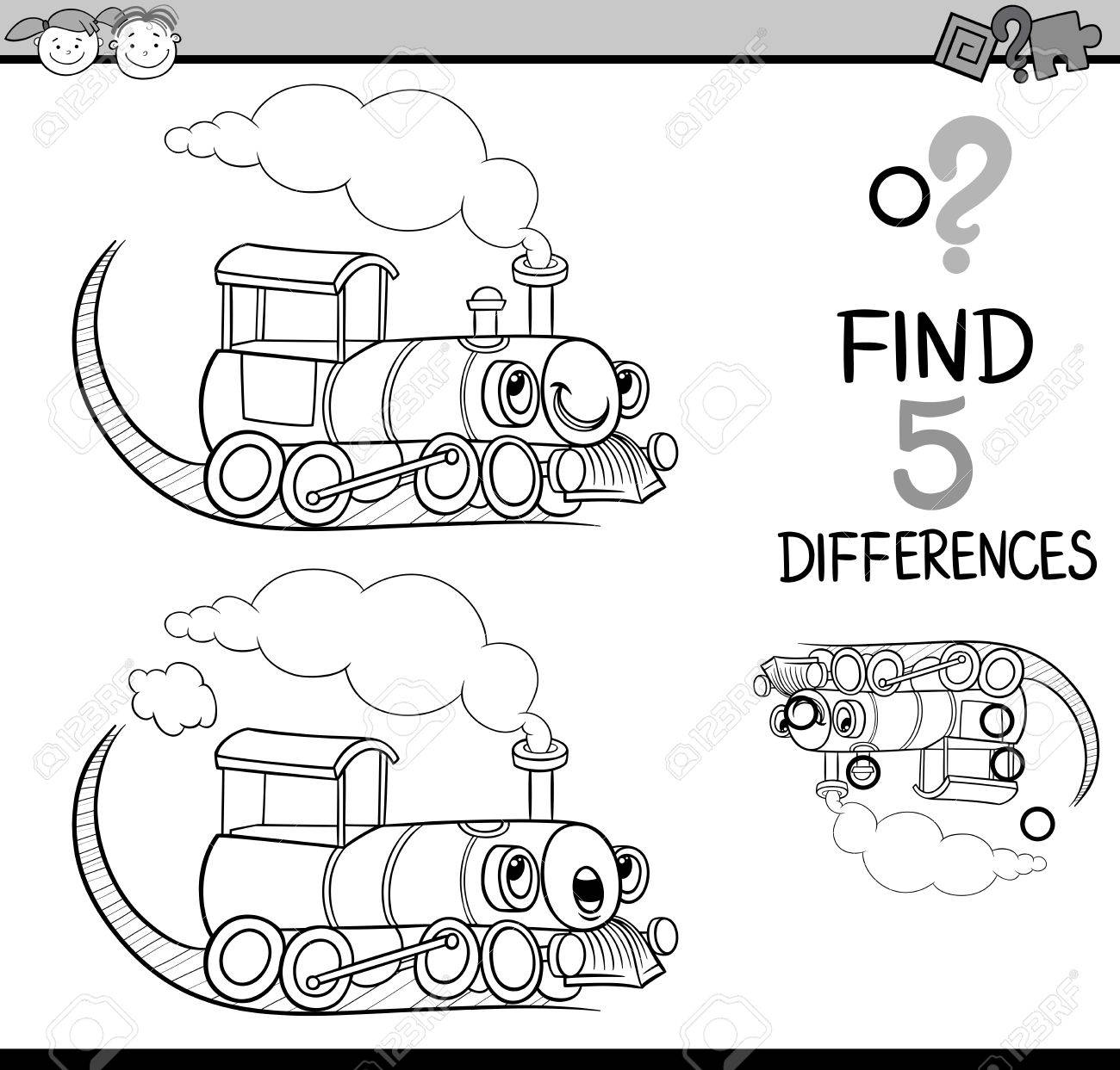Black And White Cartoon Illustration Finding Differences