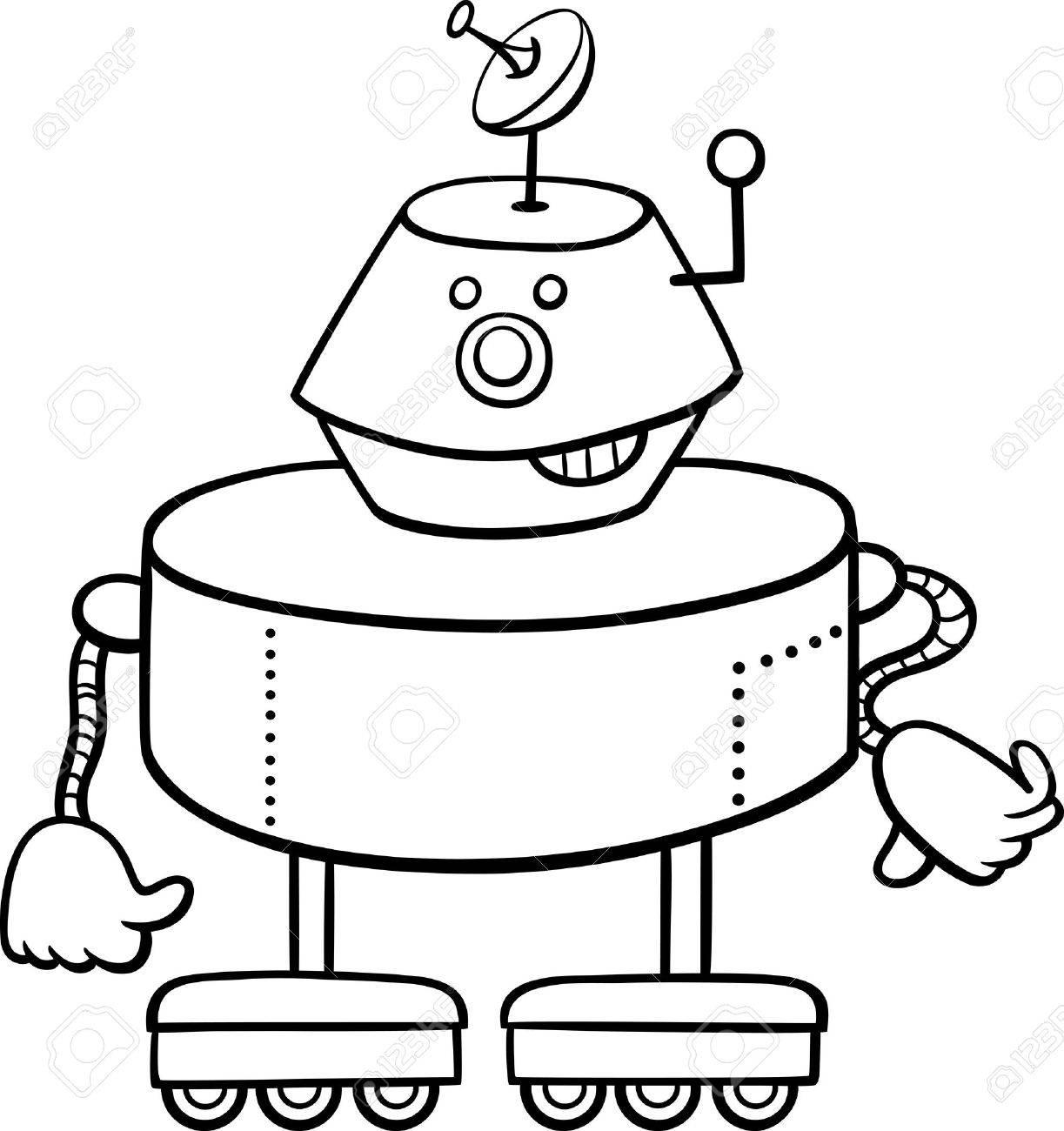 Dibujos Animados De Blanco Y Negro Ilustración De Robot O Un Carácter Divertido Droid Para Colorear Libro