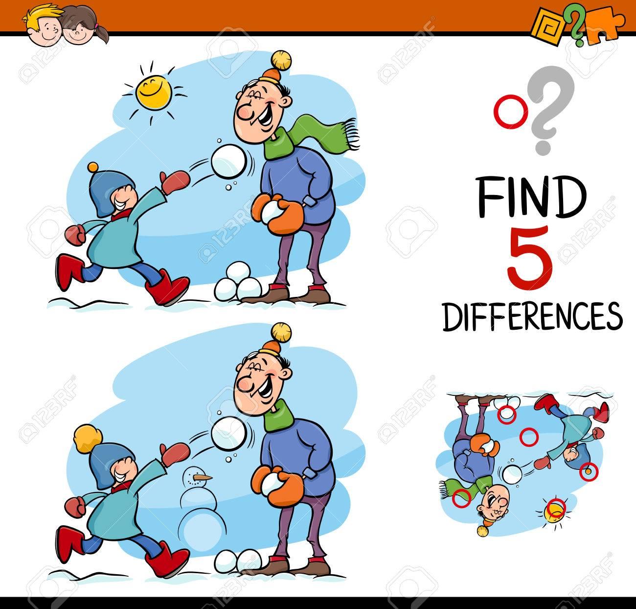 Ilustración De Dibujos Animados De Encontrar Diferencias Para La ...