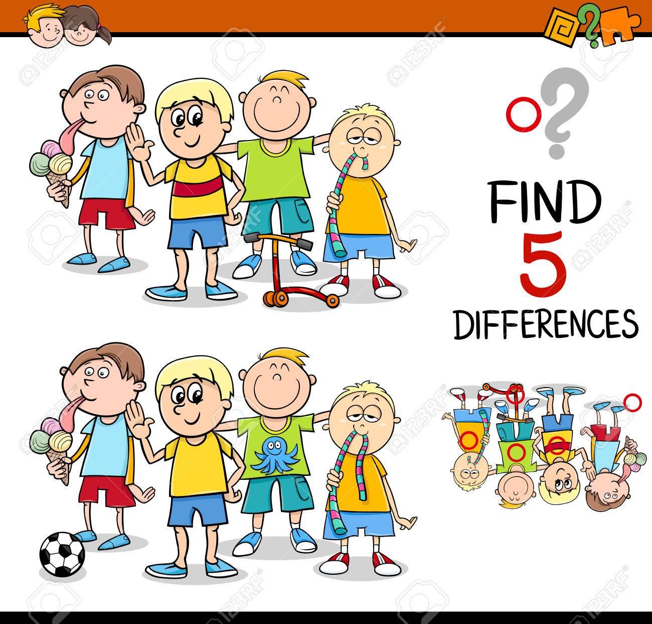 Ilustración De Dibujos Animados De Encontrar Diferencias Actividad ...