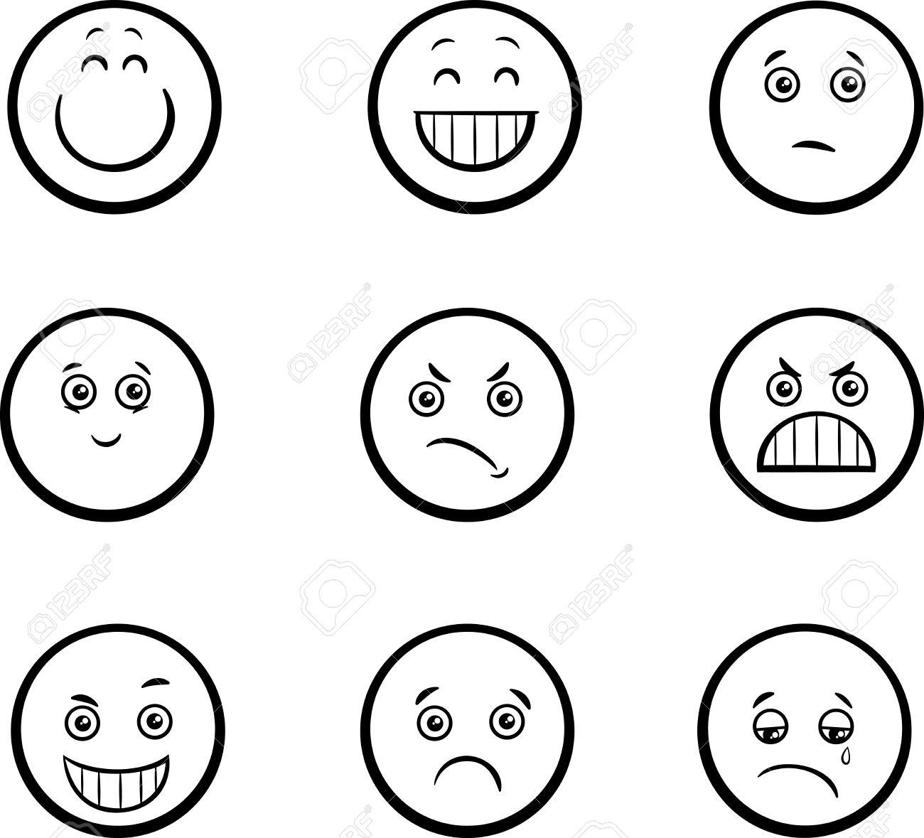 Ilustración De Dibujos Animados Blanco Y Negro De Emoticon O Emociones Como Triste O Feliz