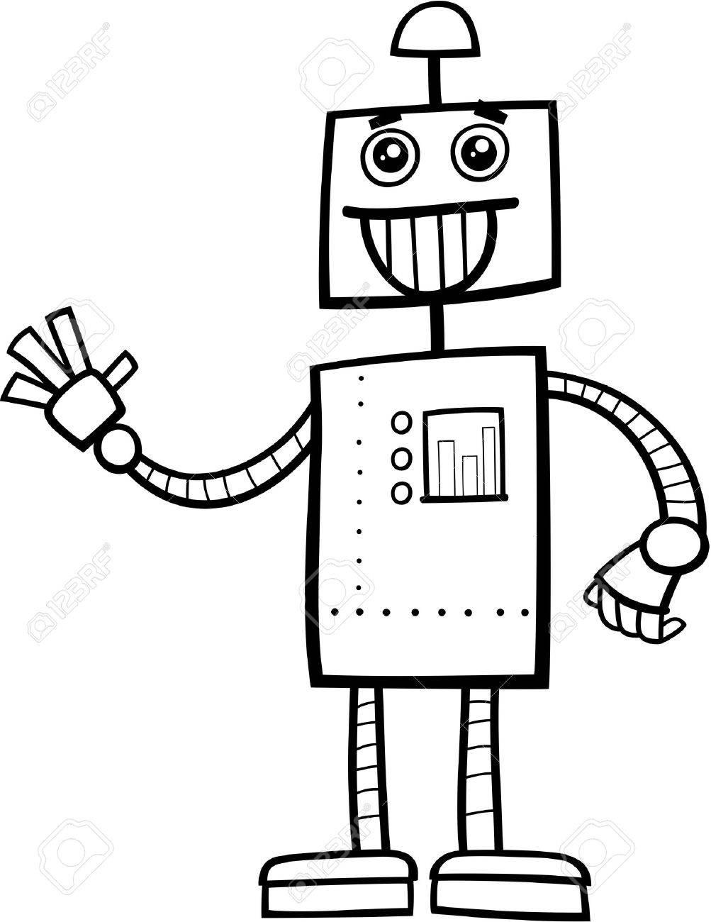 面白いロボット ファンタジー キャラクター塗り絵の黒と白の漫画イラスト