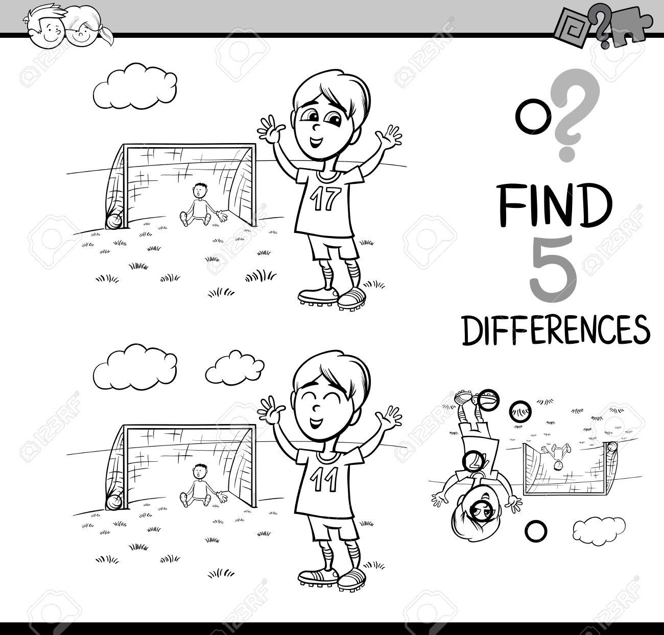 Dibujos Animados De Blanco Y Negro Ilustración De Encontrar Diferencias Actividad Educativa De Tareas Para Niños En Edad Preescolar Con Niño Jugar Al