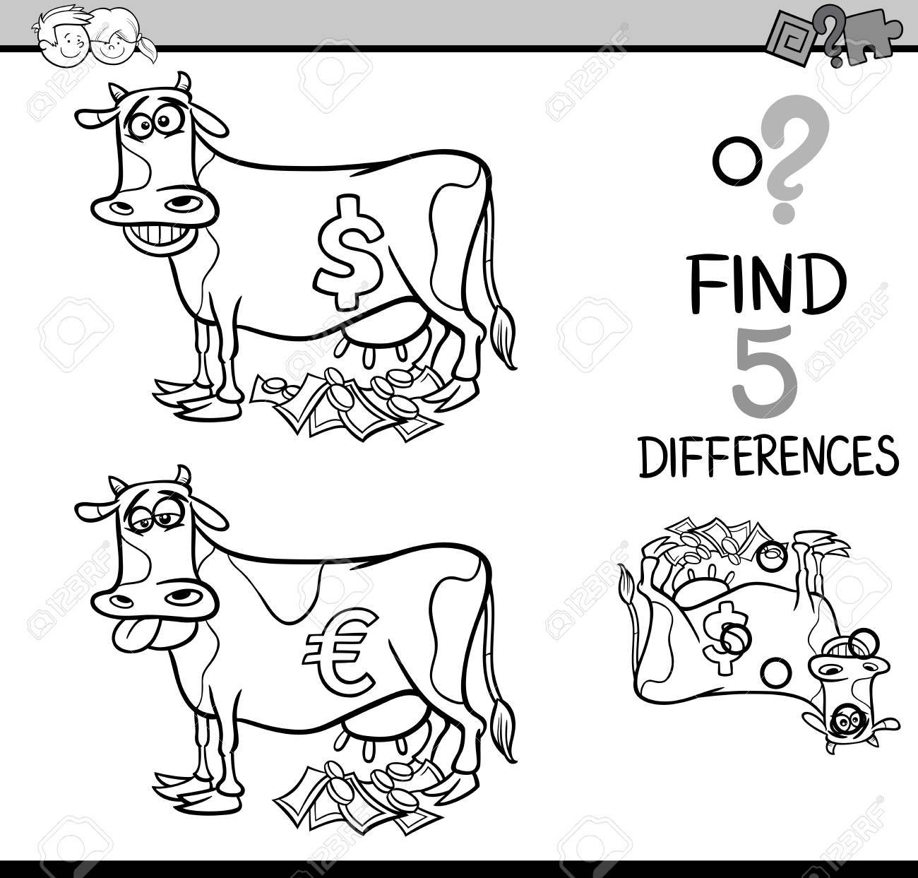 Black And White Cartoon Illustration Of Finding Differences ...