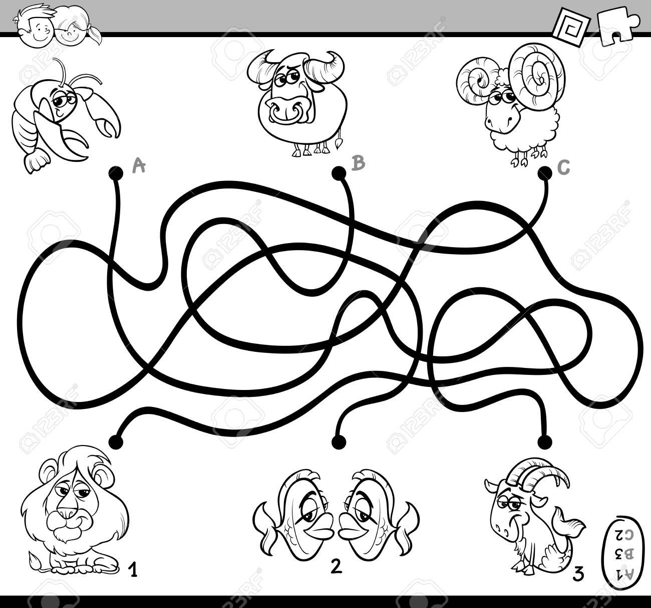 Ilustración De Dibujos Animados Blanco Y Negro De Rutas Educativas O Laberinto Actividad De Rompecabezas Tarea Para El Libro De Colorear De Niños En