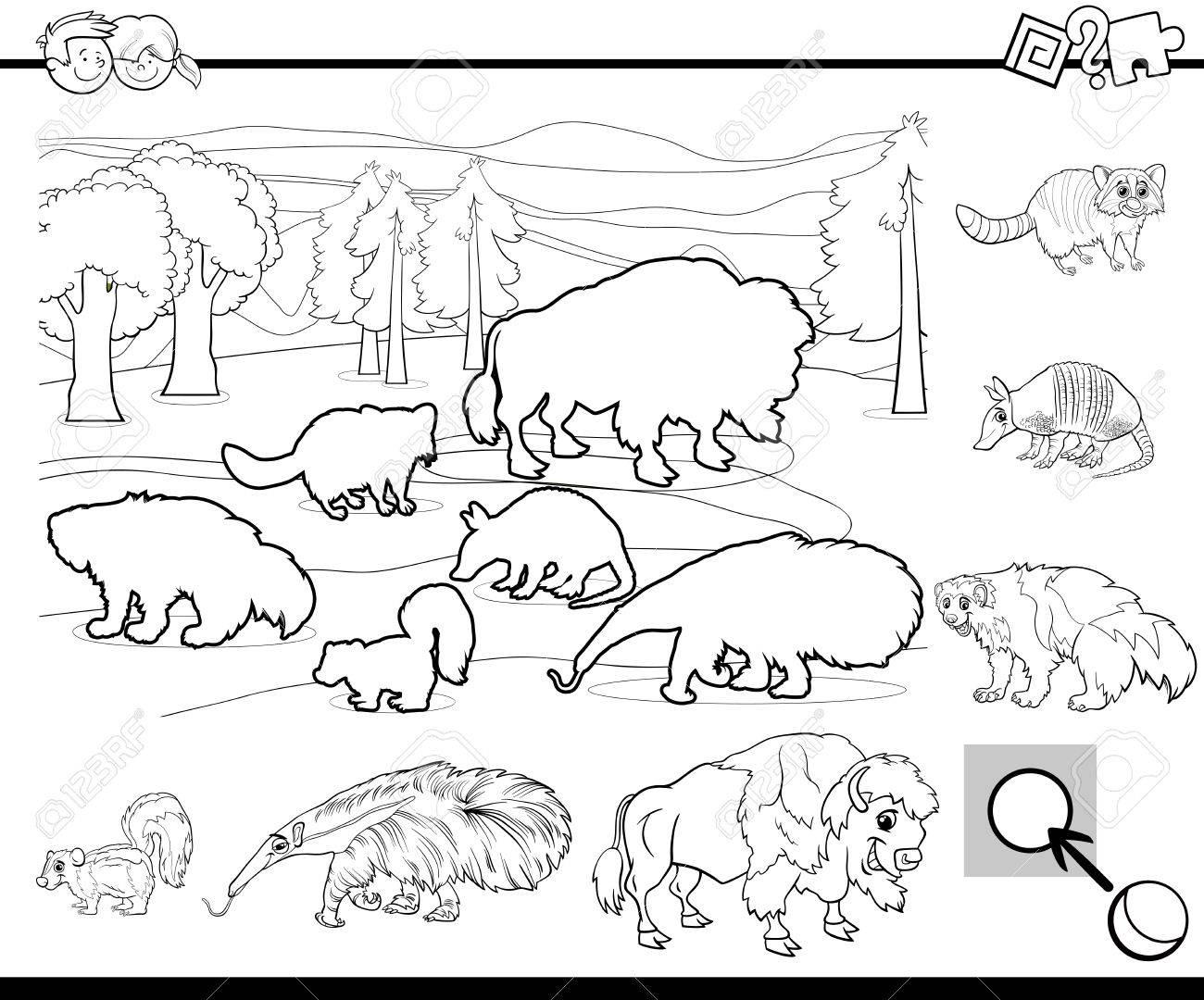 Ilustracion De Dibujos Animados En Blanco Y Negro De La Actividad