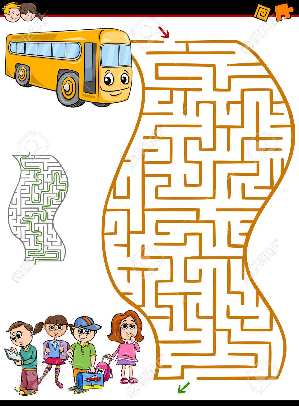 Cartoon Illustration of Education Maze or Labyrinth Activity Task for Preschool Children with School Bus and Kids - 58843391