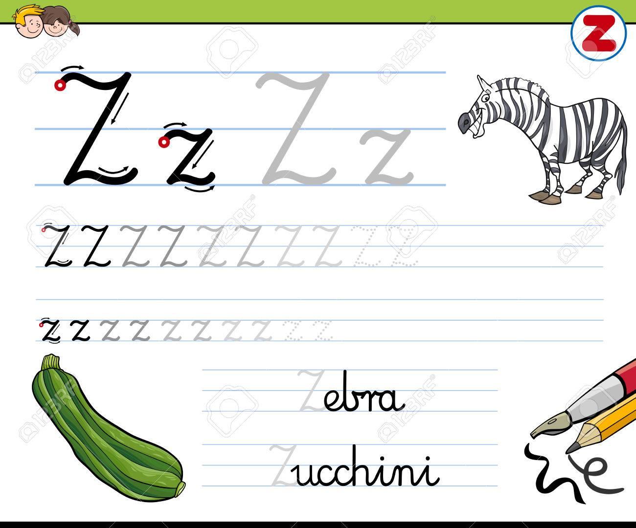 Cartoon Illustration Von Writing Skills Praxis Mit Letter Z ...