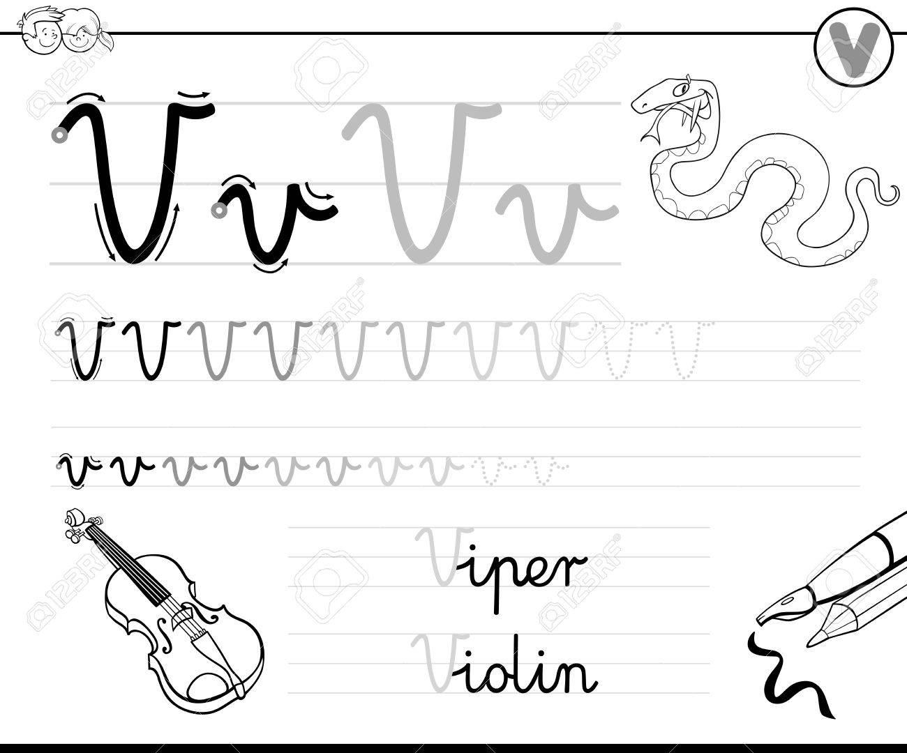 Schwarz Und Weiß Karikatur Illustration Des Schreibens Fähigkeiten ...