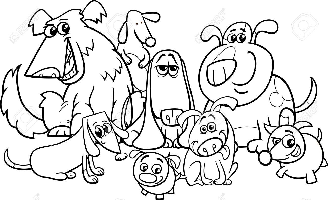 塗り絵犬文字グループの黒と白の漫画イラストのイラスト素材ベクタ