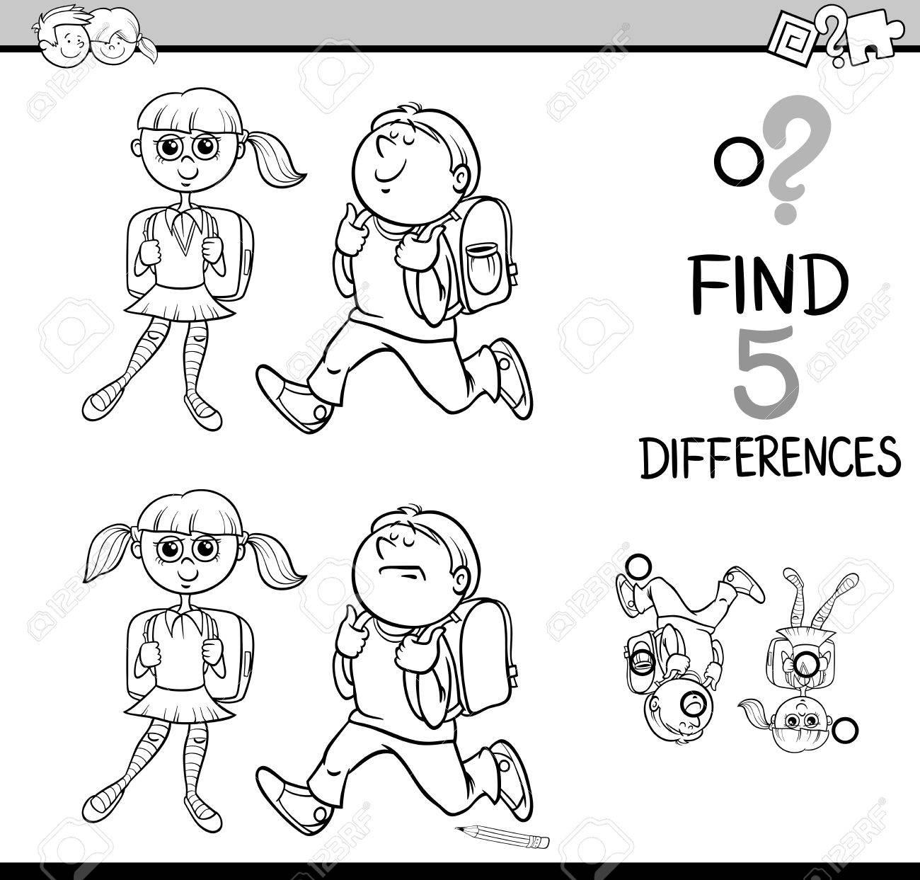 Dibujos Animados De Blanco Y Negro Ilustración De Encontrar Diferencias Actividad Educativa Con Niños En La Escuela Para Colorear Libro