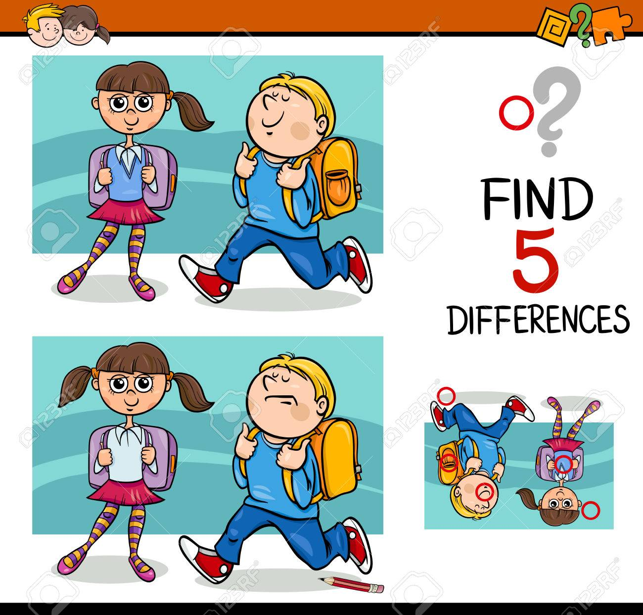Cartoon Illustration Of Finding Differences Educational Activity