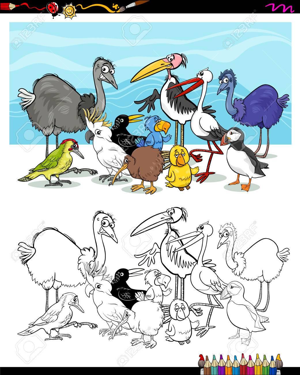 Dibujos Animados De Blanco Y Negro Ilustración De Pájaros Personajes ...