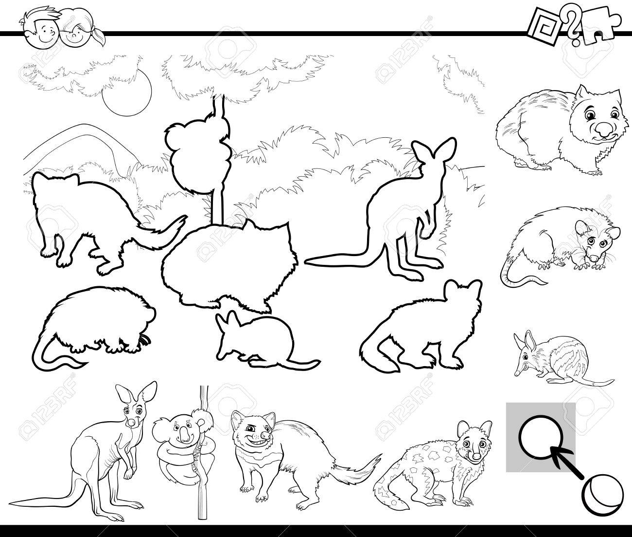 Black And White Cartoon Illustration Of Educational Activity For Preschool Children With Australian Animal Characters
