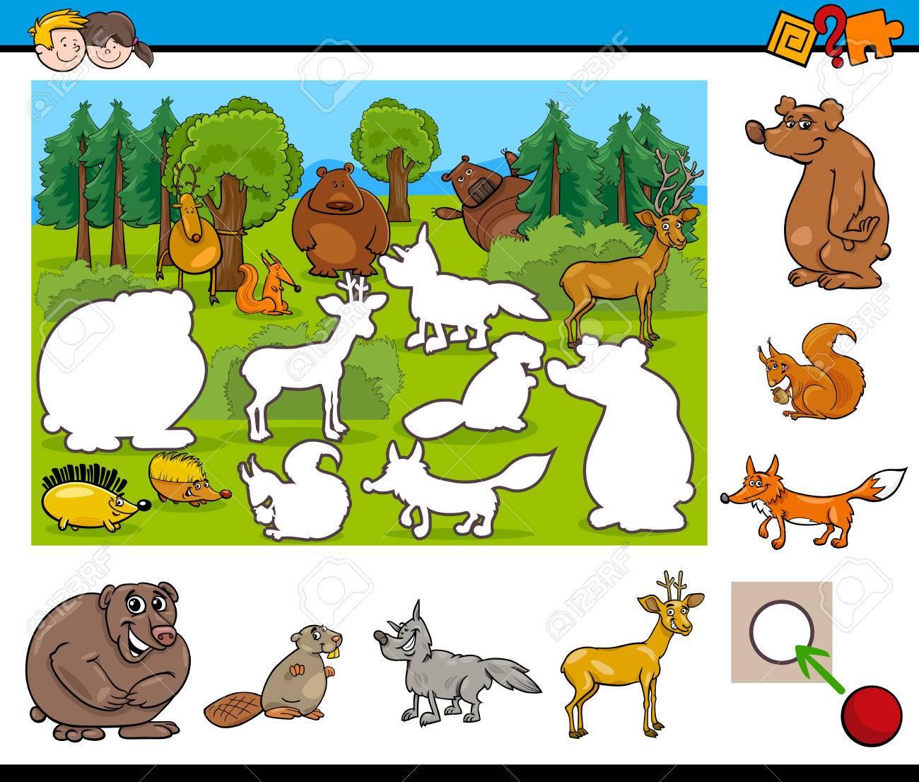 野生動物のキャラクターの幼稚園児のための教育活動の漫画イラスト