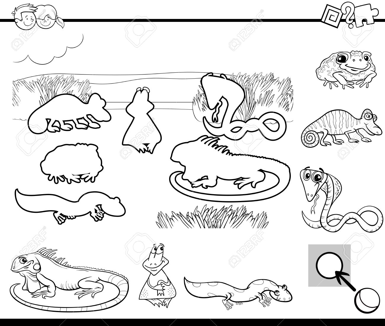 black and white cartoon illustration of educational activity