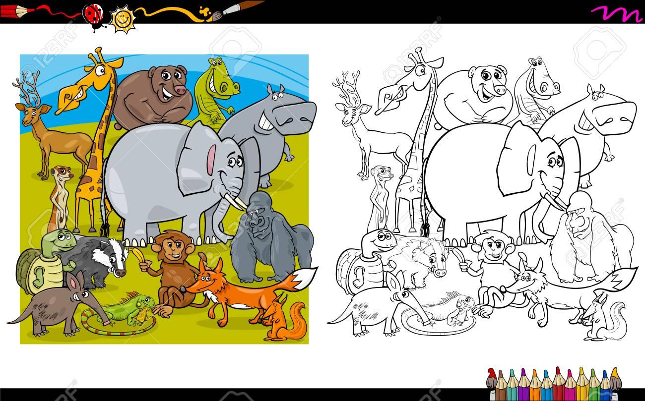 Ilustración De Dibujos Animados En Blanco Y Negro De Personajes De ...