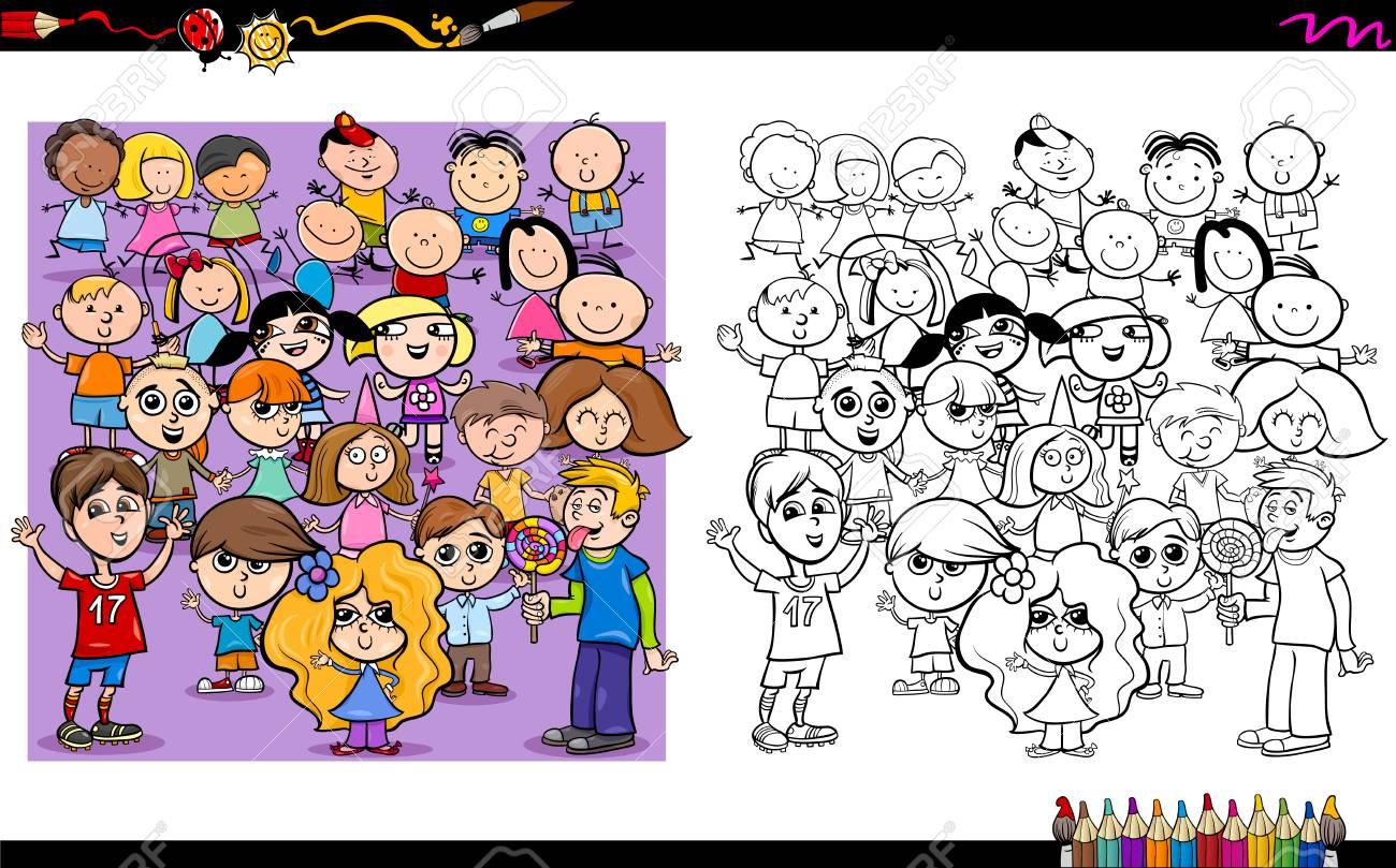 Illustrazione Del Fumetto Dellattività Dei Caratteri Da Colorare Dei Caratteri Dei Bambini