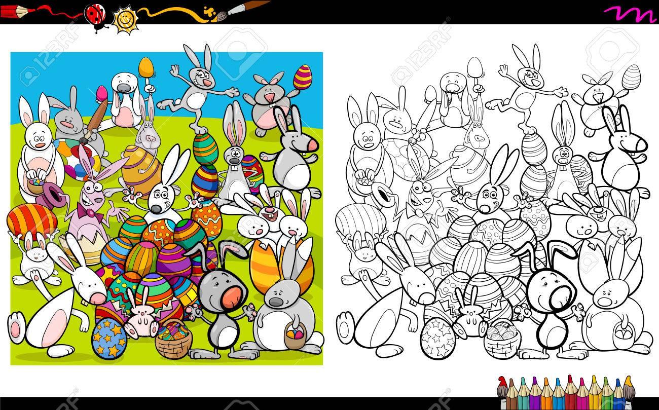 Ilustración De Dibujos Animados Conejo De Pascua Para Colorear Libro ...