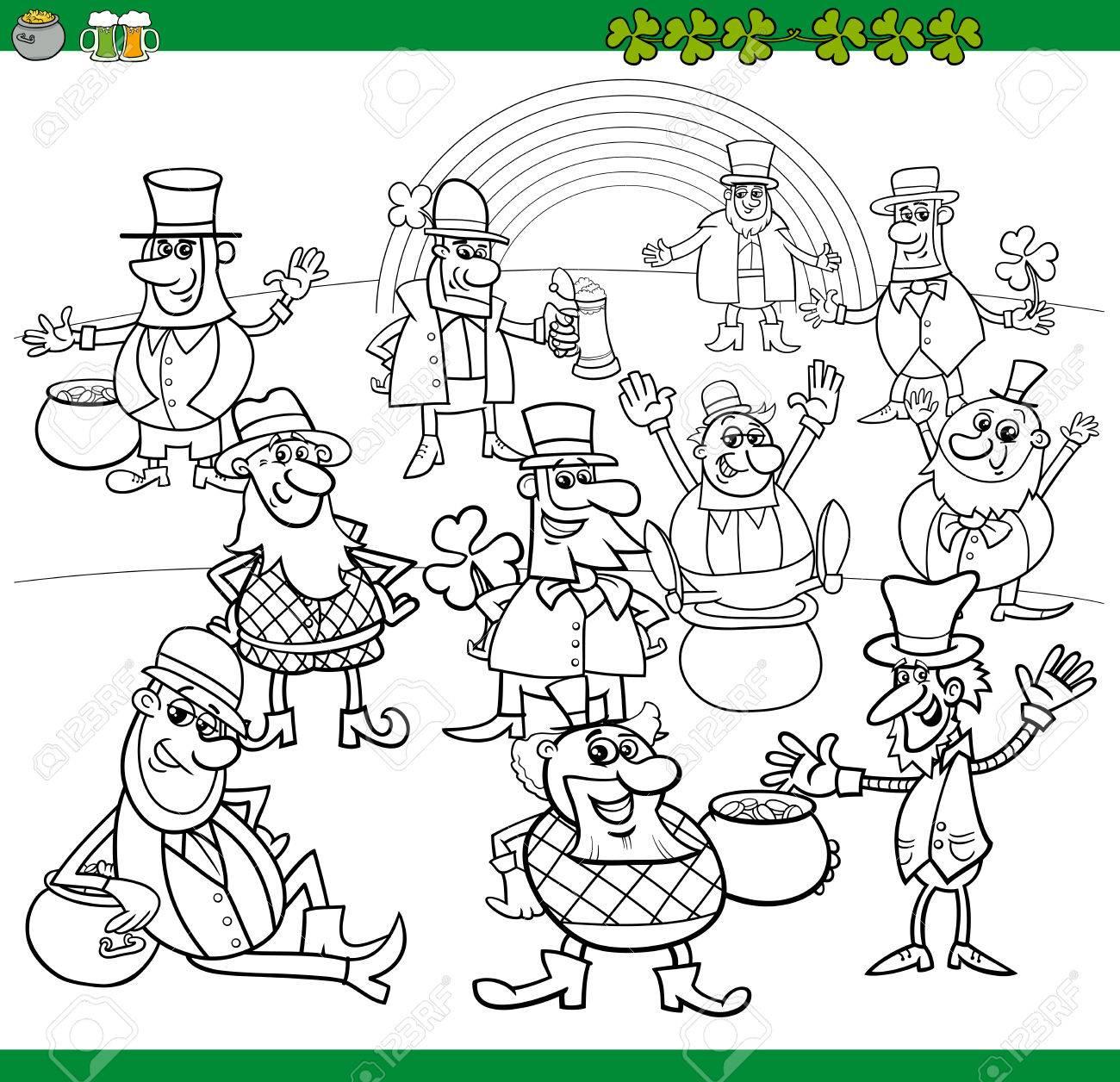 Schwarz Und Weiß Karikatur Illustration Von Kobold Und St. Patrick ...