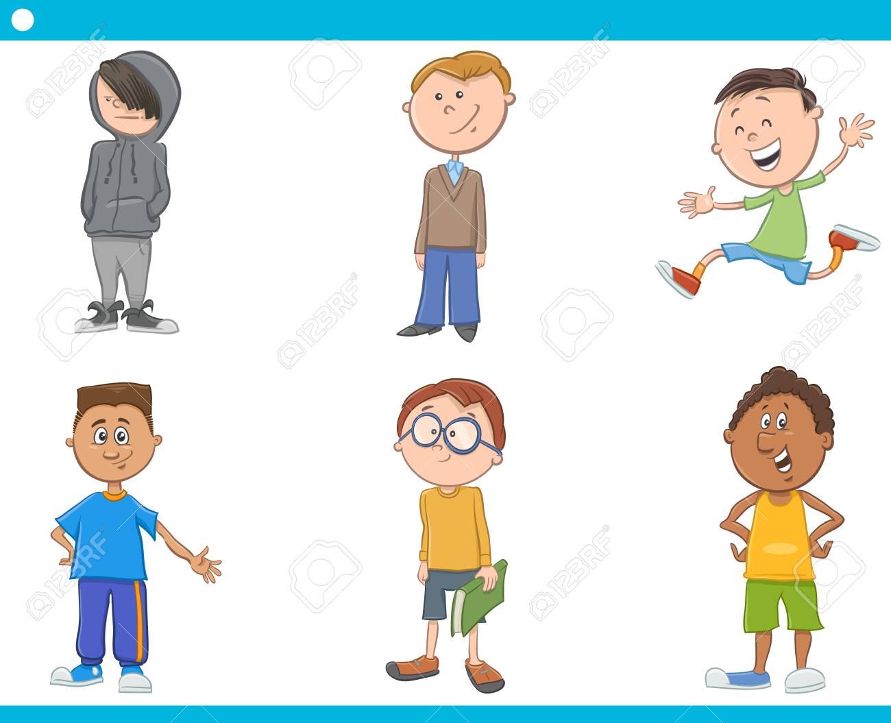 Ilustración De Dibujos Animados De Los Niños De Edad Escolar Niños O