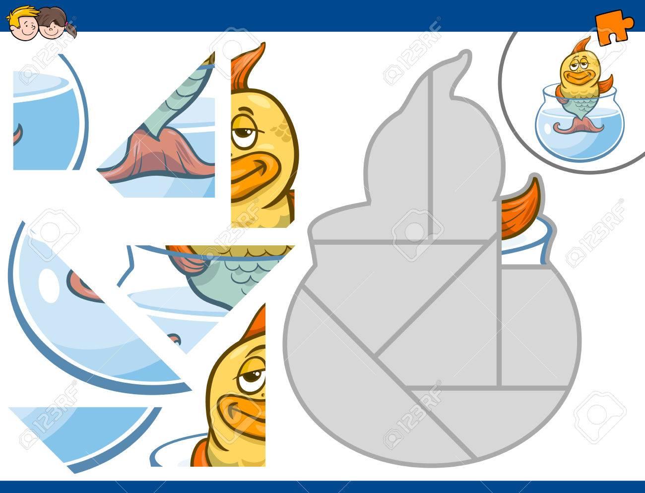 金の魚動物文字児教育ジグソー パズル活動の漫画イラスト ロイヤリティ