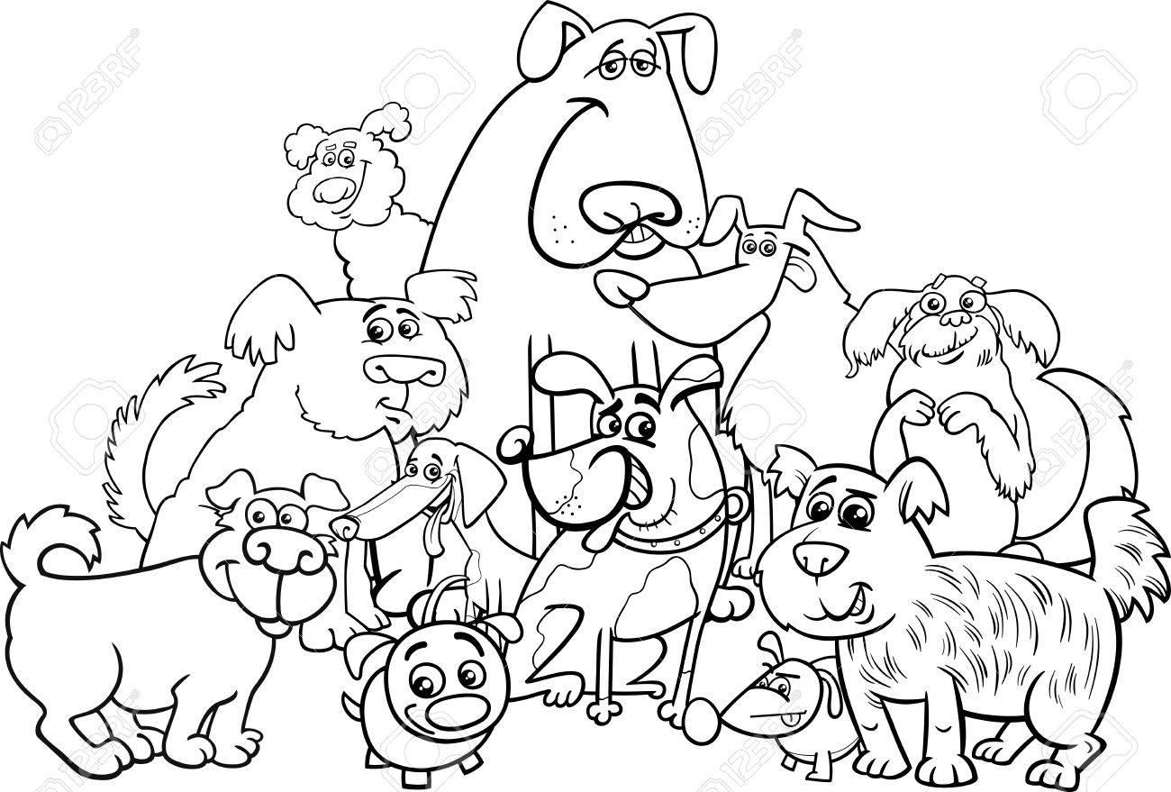 塗り絵犬動物文字グループの黒と白の漫画イラストのイラスト素材ベクタ