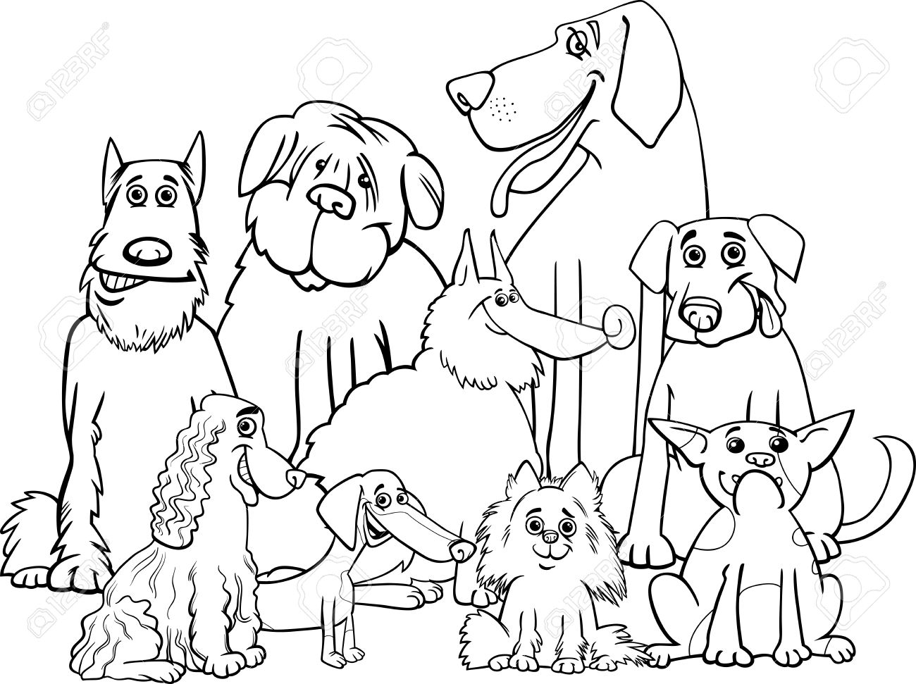 塗り絵純血種犬動物文字グループの黒と白の漫画イラストのイラスト素材