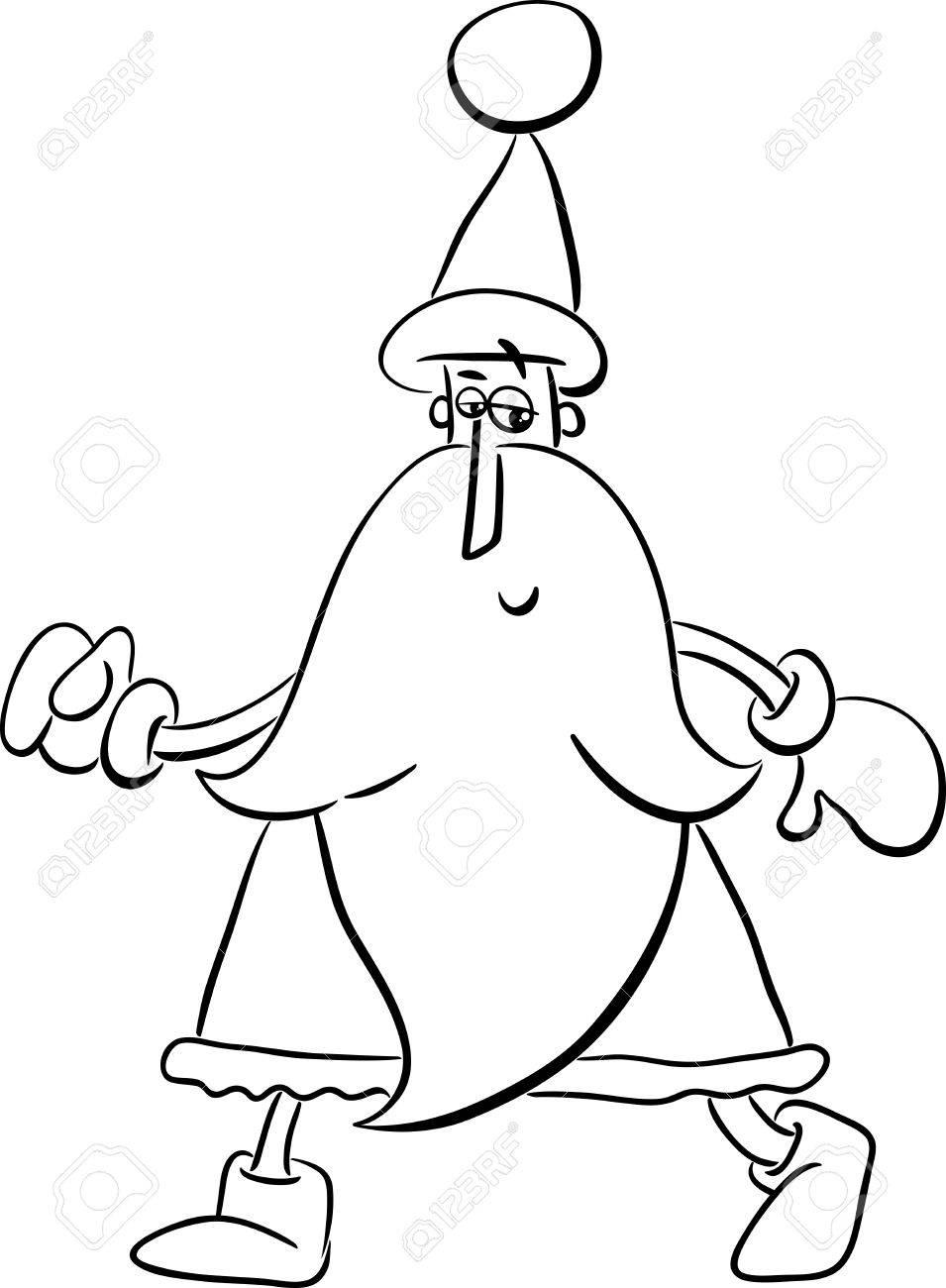 Ilustracion De Dibujos Animados Blanco Y Negro De Santa Claus En