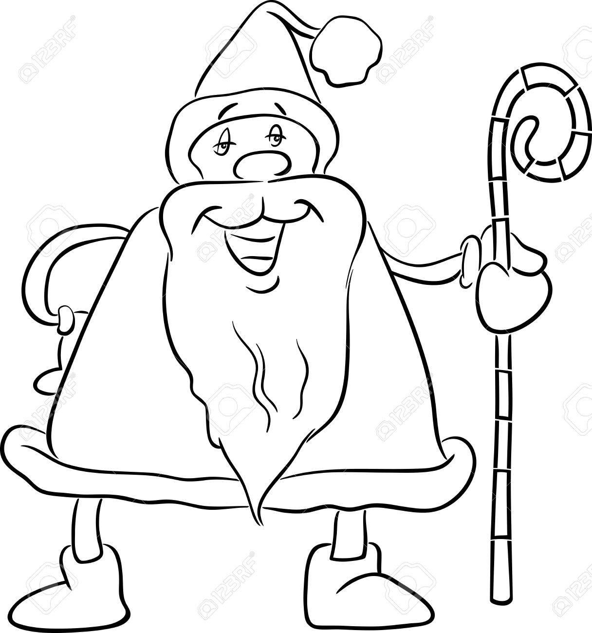 Illustration De Dessin Animé Noir Et Blanc Du Père Noël Avec Canne Le Temps De Noël Pour Le Livre De Coloriage
